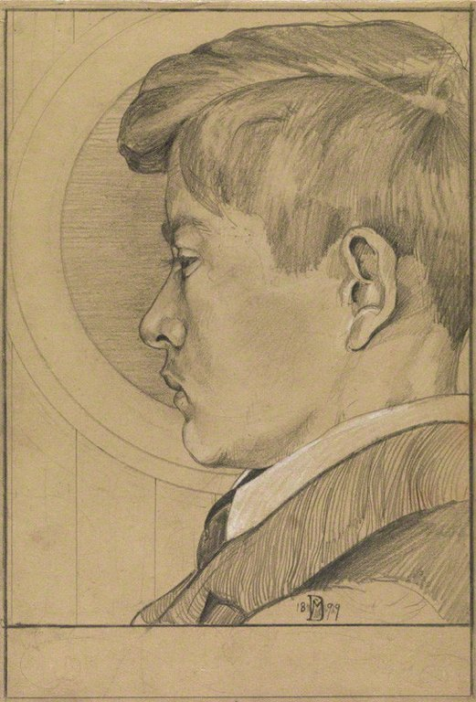 Edward Julius Detmold, pencil sketch by Maurice, 1899, NPG