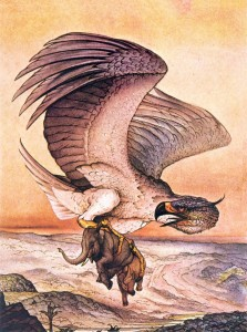 The Roc which fed its young on elephants, for The Arabian Nights, by Edward Detmold, 1924