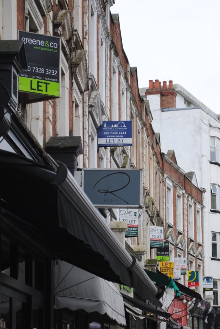 Estate agent boards west end lane