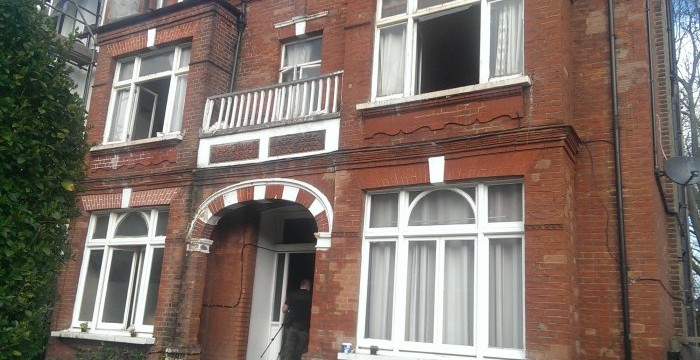 Depsite minimal damage to the outside, the ground floor is badly damaged
