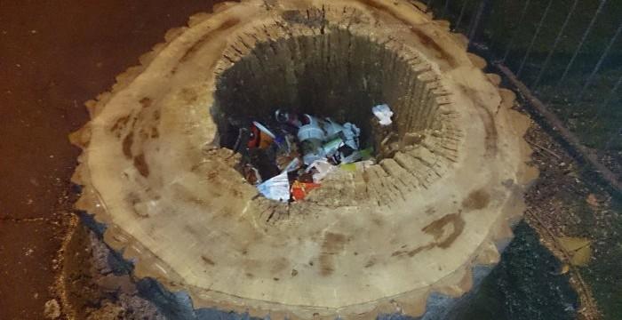 Tree stump bin