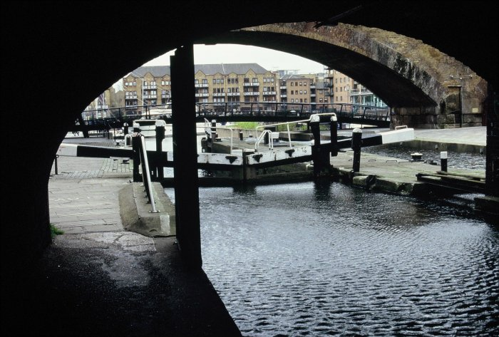 Limehouse Basin through the lock
