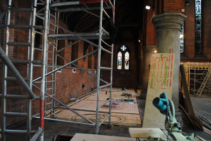 Underfloor heating being laid for the café in the south aisle