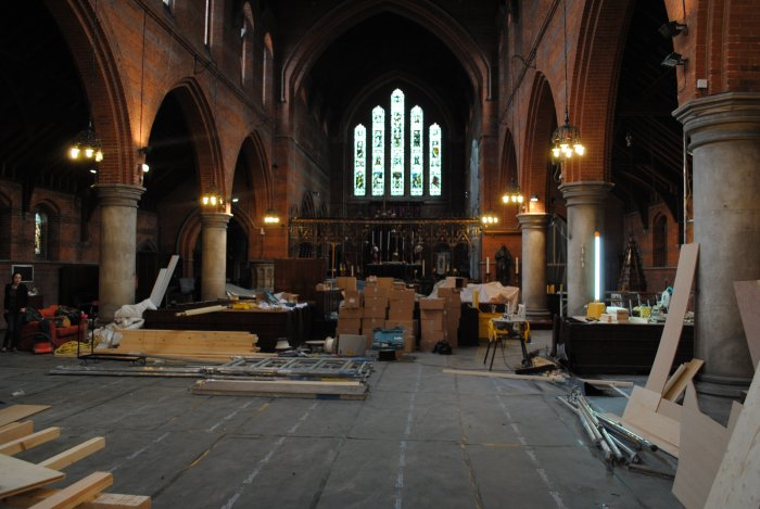 The boxes roughly mark the last row of pews for church services