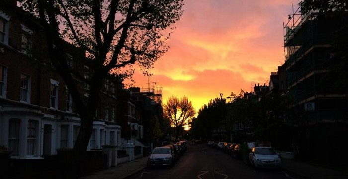 West Hampstead sunrise, seen from Iverson Road on Saturday 26 April