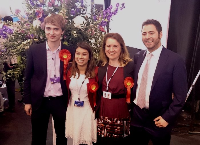 West Hampstead's new councillors  James Yarde, Angela Pober, Phil Rosenberg. with Tulip Siddiq (second left)