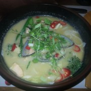 Coconut seafood broth, just before Tom (literally?) dived in