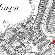 The site of the school in 1866 marked in red