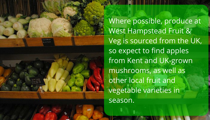 Where possible, produce at West Hampstead Fruit & Veg is sourced from the UK, so expect to find apples from Kent and UK-grown mushrooms, as well as other local fruit and vegetable varieties in season.