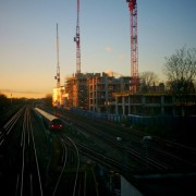 Tube train waits as sun sets  via @WHampstead