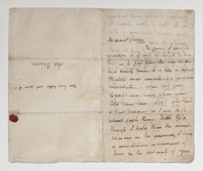 A star object in the collection - Keats' love letter to Fanny Brawne (Photo (c) The City of London)