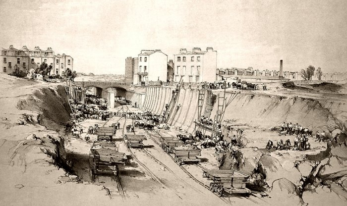 Railway building in Camden Town showing the excavation of the deep cutting at Park Village (by John Cooke Bourne, 1836)