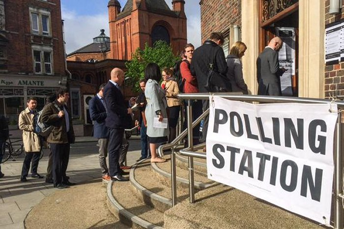 West Hampstead library at 8.30am on polling day via Rita Tudela