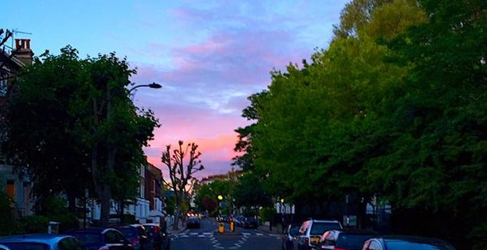 Iverson Road, West Hampstead, at sunset by @SteveWHamp