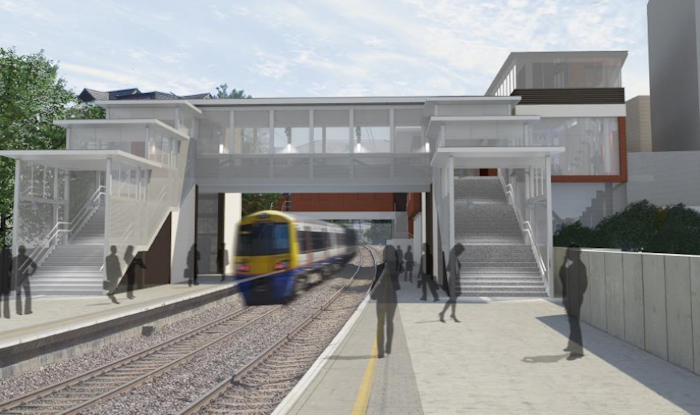New Overground station, view from platform. Image via TfL