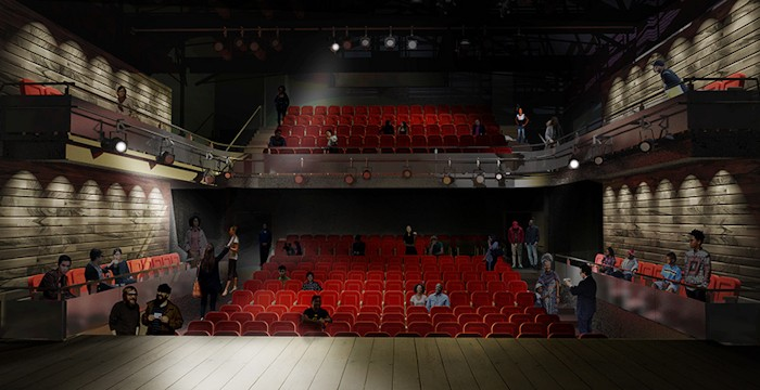 """Better sightlines and more seats as """"scaffolding"""" style replaced. Image via Chapman Waterworth"""