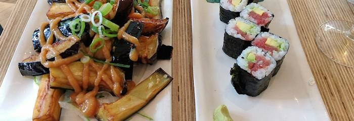Miso aubergine and tuna/avocado maki start to fill Tom up