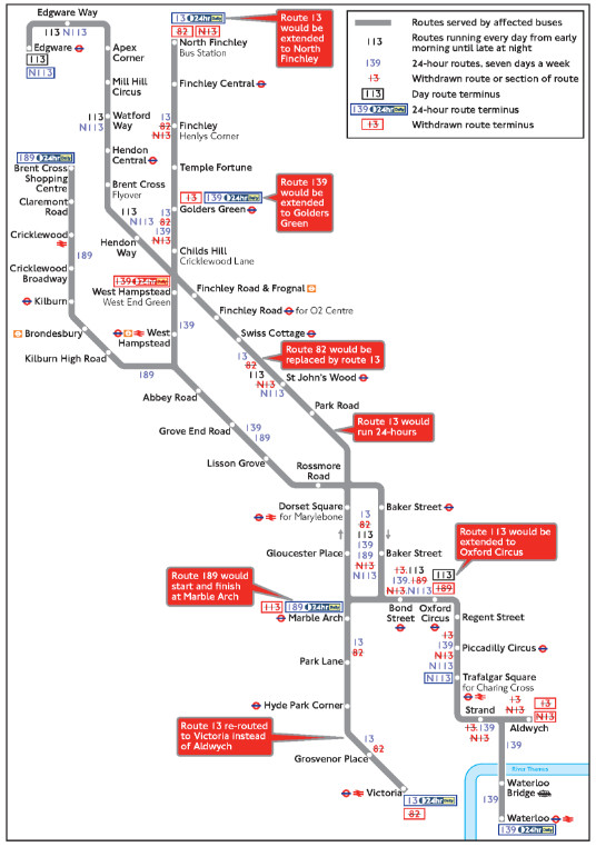 Proposed changes to 13, 82 , 113, 139 and 189 bus routes. Image: TFL