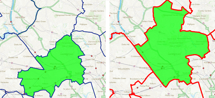 Hampstead & Kilburn on the left, and the proposed Hampstead & Golders Green on the right