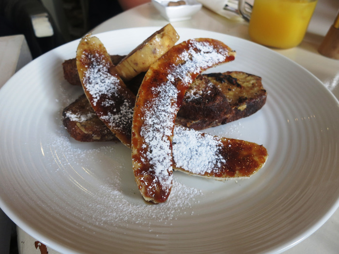 French toast with bananas at The Petit Coree
