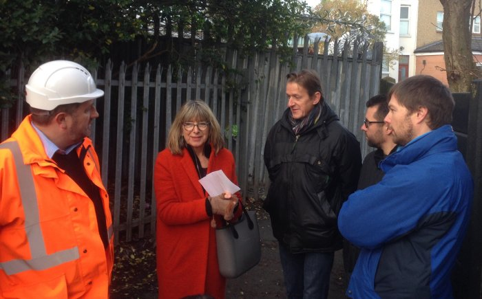 L-R, Network Rail's David Rose, local resident Julia Deakin, Cllr Richard Olszweski, Simon Bishop and Jim Craig from West Hampstead SNT discuss safety and maintenance on the Black Path.