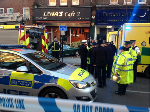Police and ambulance on the scene of the accident. Photo: Cllr Phil Rosenberg