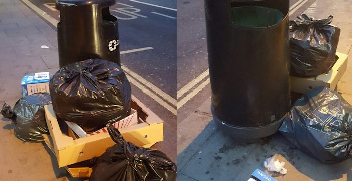 Commercial rubbish is collected daily on West End Lane - though it's not always left correctly. Photo @Superfast72