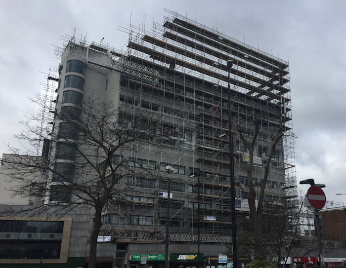 No reason for thinking Cresta House scaffolding is in any way insecure, but certainly looks vertiginous. via Andrew Marshall