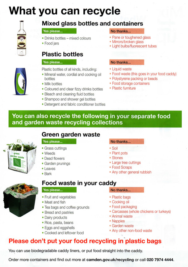 Camden's latest recycling info