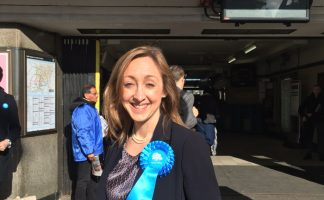 Claire-Louise Leyland campaigning (on the edge) of West Hampstead