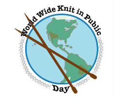 World-wide knitting in public day! @ West Hampstead Square