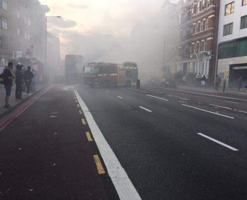 113 on fire on the Finchley Road.  Image thanks to Mark Hutton.